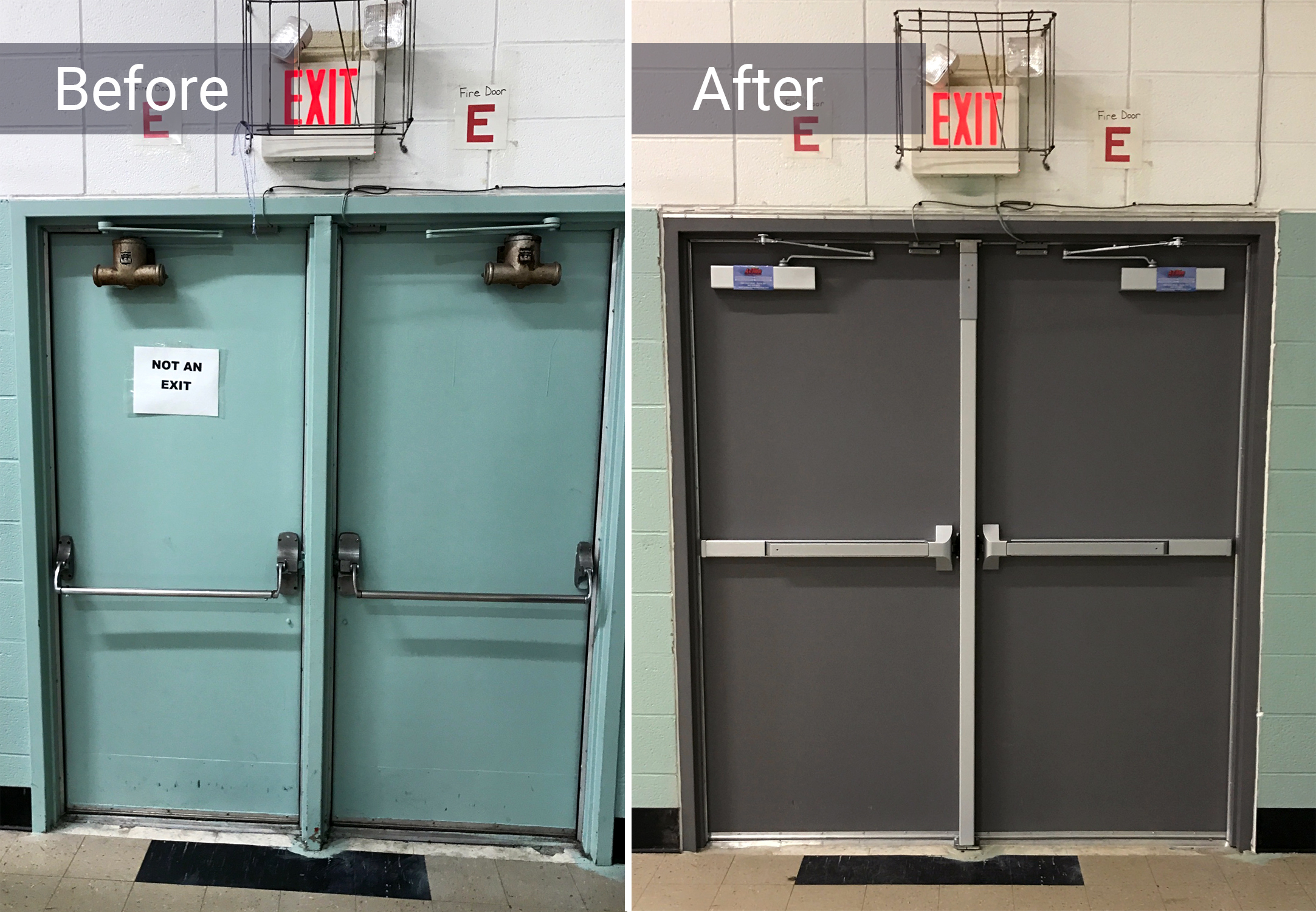 before and after of a fire door in Elyria